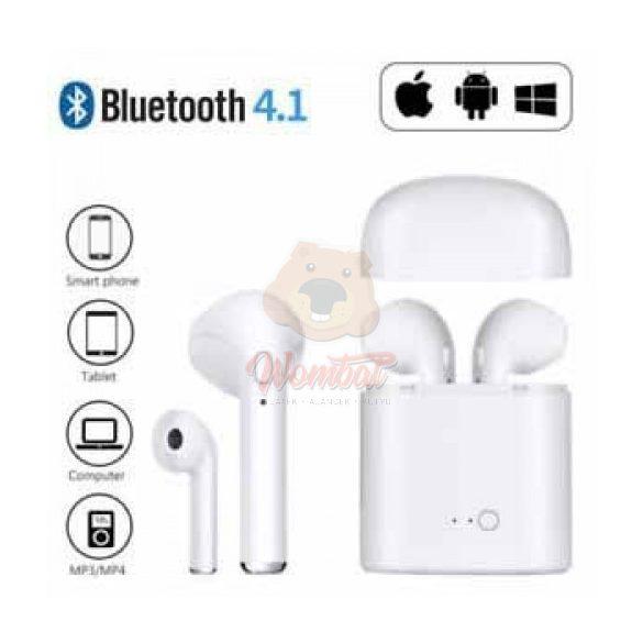 i7S tws páros bluetooth headset, töltő tokkal - fehér